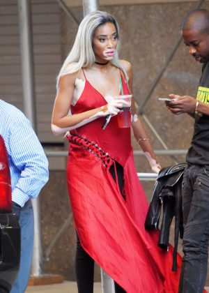 Winnie Harlow in red out in New York