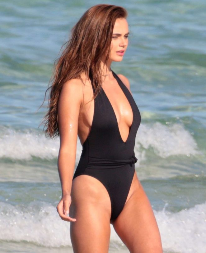 Xenia Deli in Swimsuit on a photoshoot at the beach in Miami