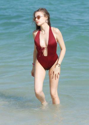 Xenia Tchoumitcheva in Swimsuit on Miami Beach