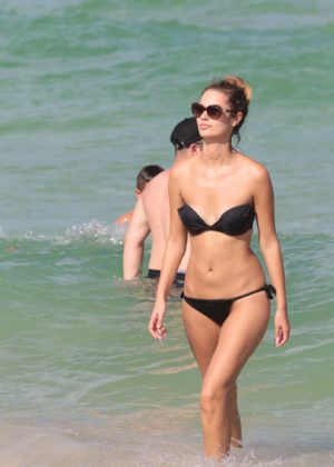 Yana Dubnik - In black bikini at the beach in Miami Beach