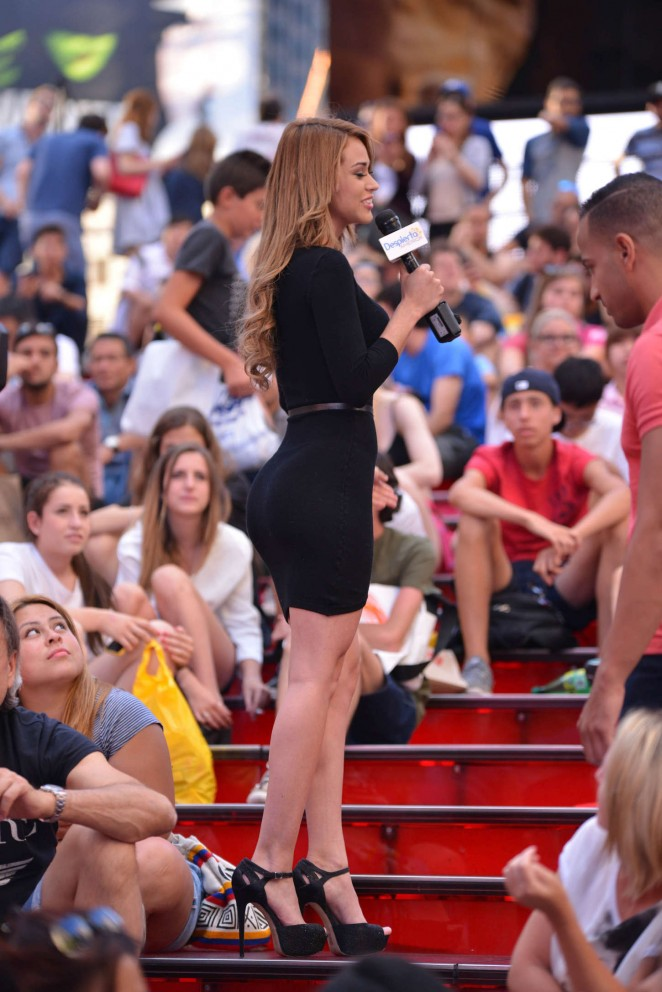 Yanet Garcia in Tight Mini Dress at Times Square in NY