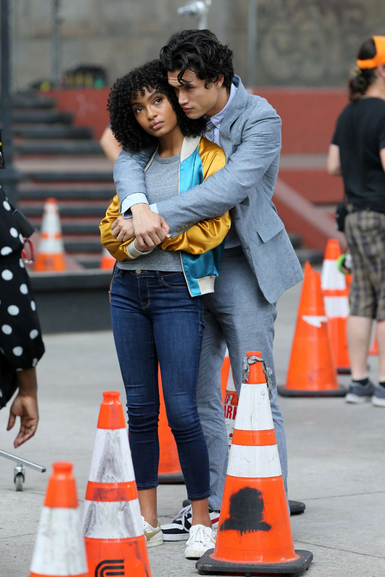 Yara Shahidi and Charles Melton - Filming 'The Sun Is Also A Star' in Chinatown