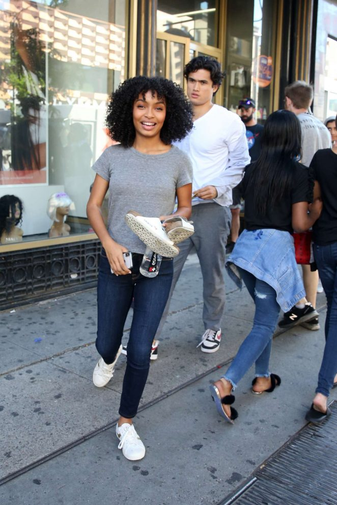 Yara Shahidi and Charles Melton - Filming 'The Sun Is Also A Star' in Harlem