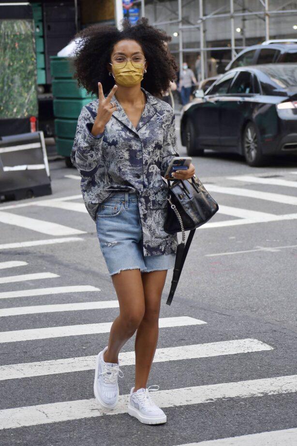 Yara Shahidi - Wears a denim shorts on Madison Avenue in New York