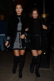 Yazmin Oukhellou and Nicole Bass - Leaves Novikov Restaurant in Mayfair