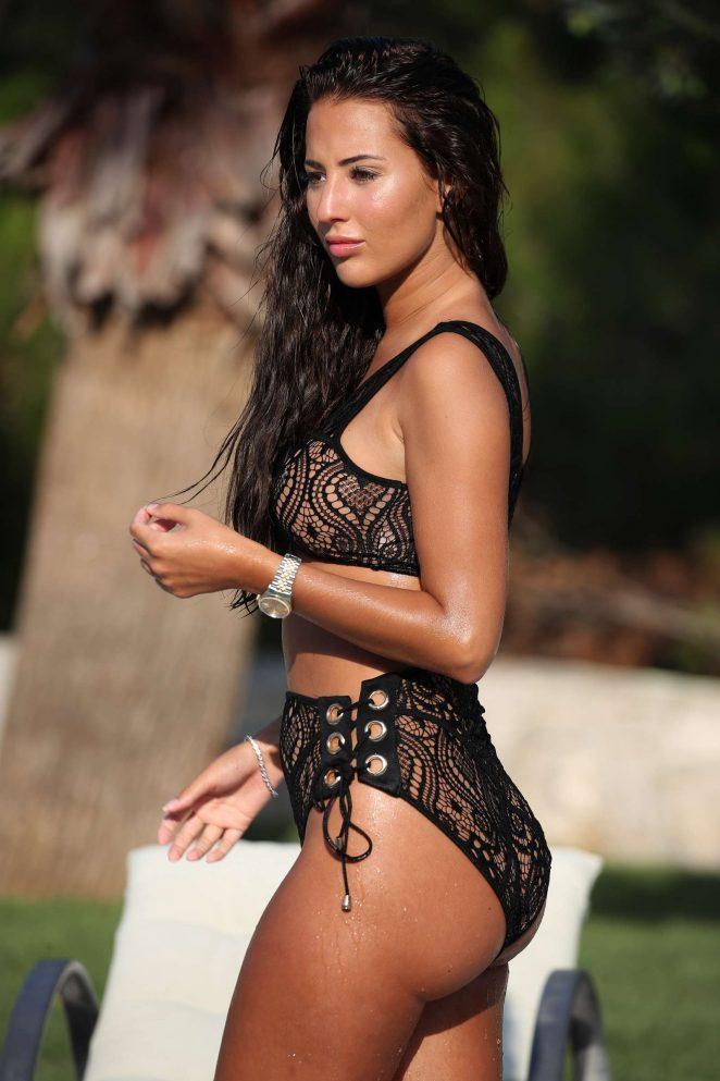 Yazmin Oukhellou in Bikini at a pool in Turkey
