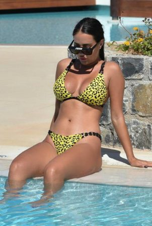 Yazmin Oukhellou - In yellow leopard print bikini in Turkey