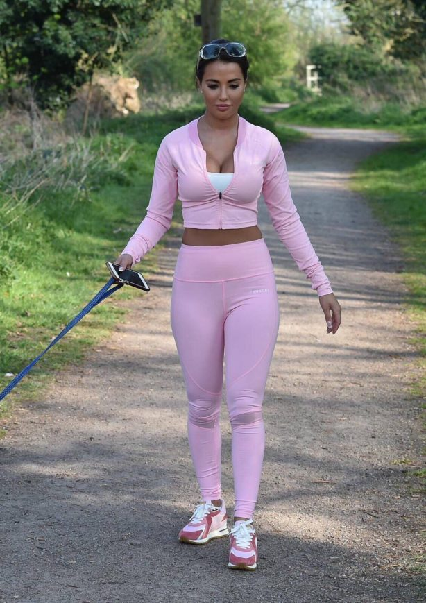 Yazmin Oukhellou - Taking her dogs for a walk in Essex