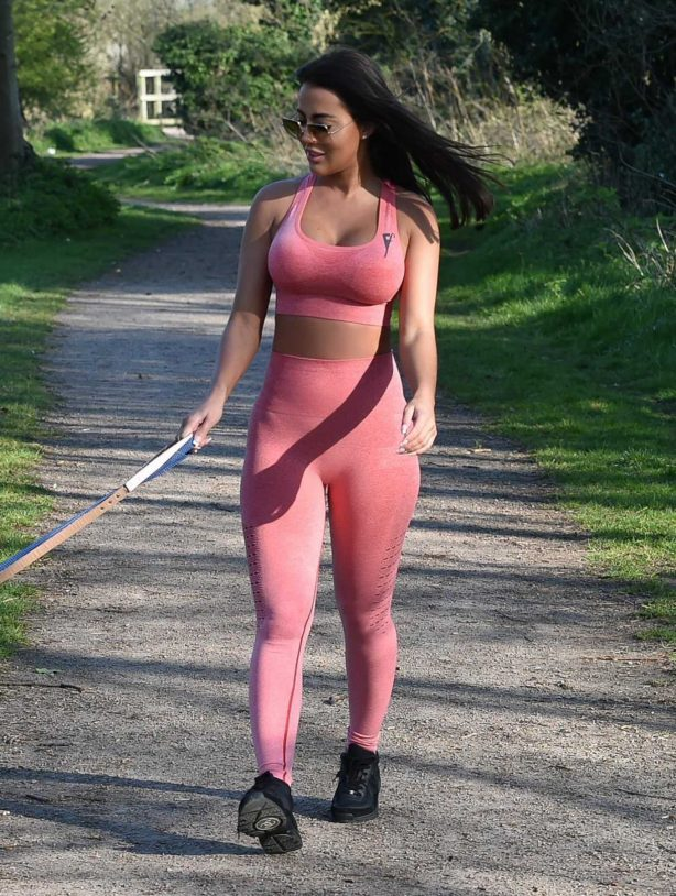 Yazmin Oukhellou - Walking her dogs in Harlow