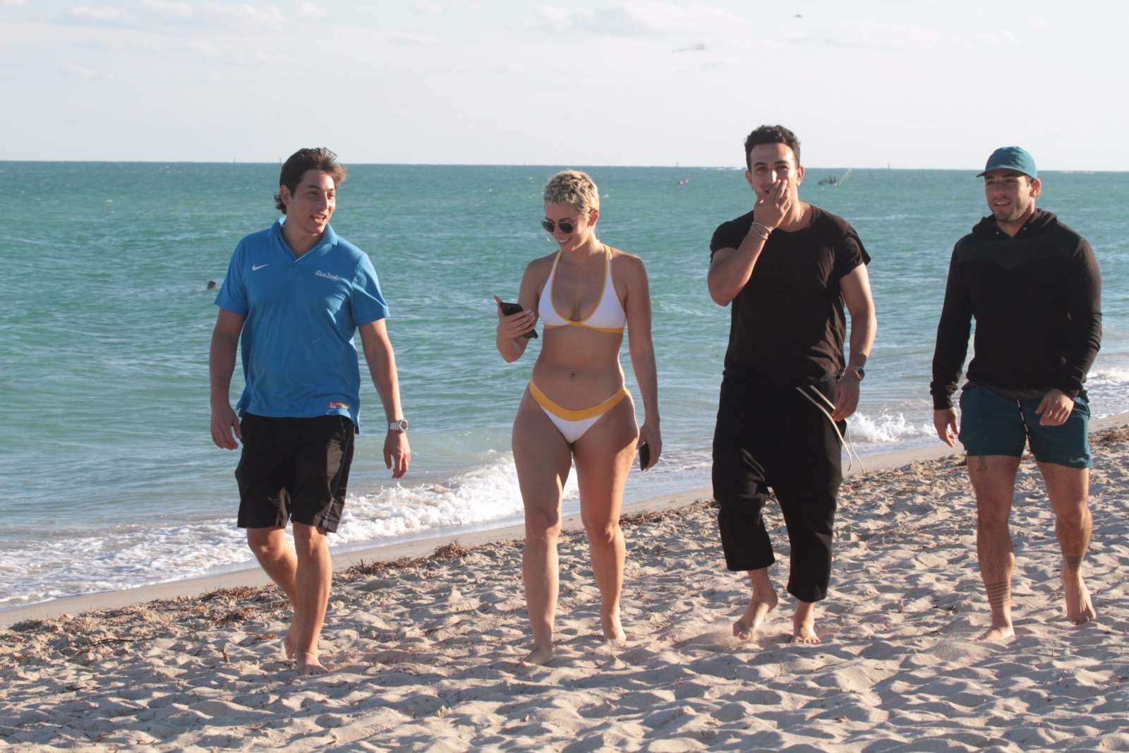 YesJulz in White Bikini on the beach in Miami Pic 6 of 35