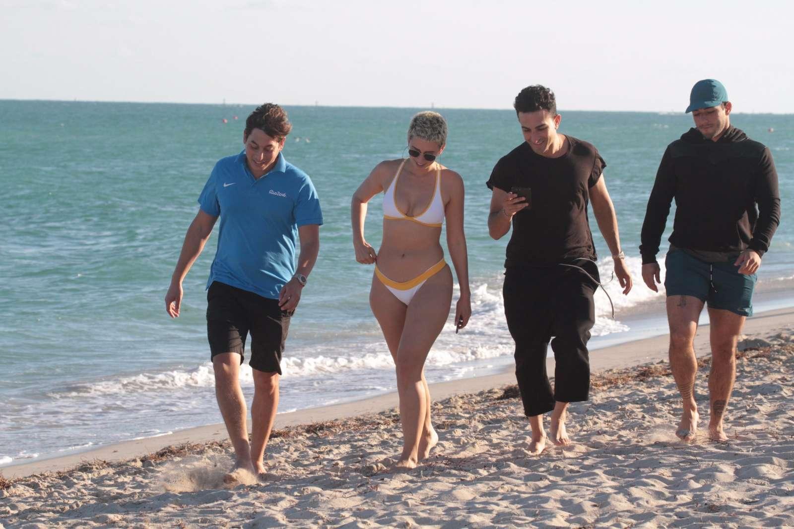 YesJulz in White Bikini on the beach in Miami Pic 5 of 35