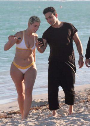 YesJulz in White Bikini on the beach in Miami Pic 10 of 35