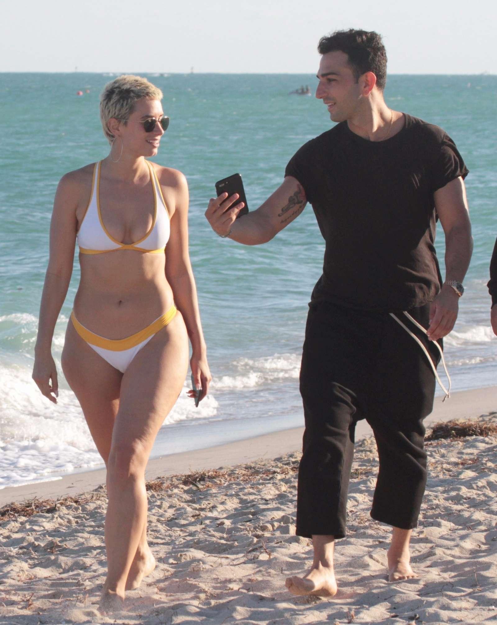 YesJulz in White Bikini on the beach in Miami Pic 21 of 35