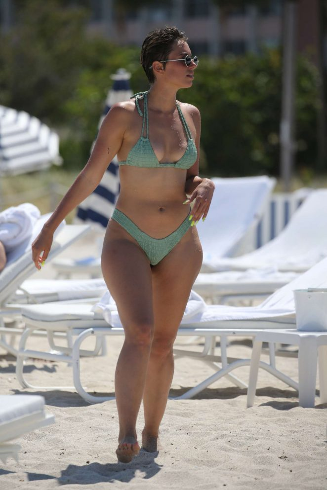 YesJulz in Green Bikini on the beach in Miami