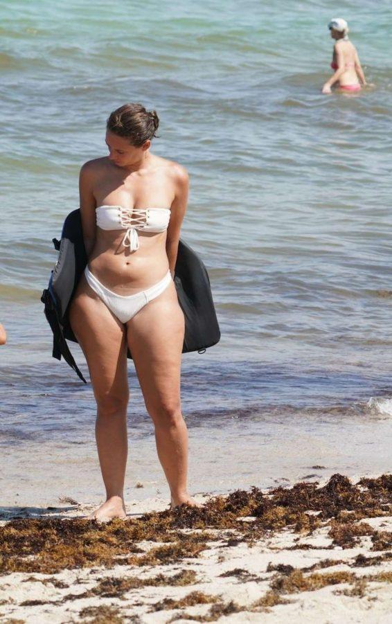 YesJulz in White Bikini at the beach in Miami