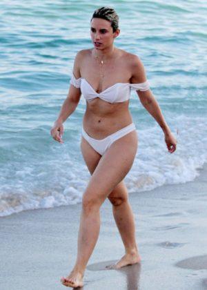 YesJulz in White Bikini on the beach in Miami Pic 22 of 35