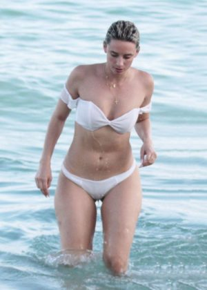 YesJulz in White Bikini on the beach in Miami