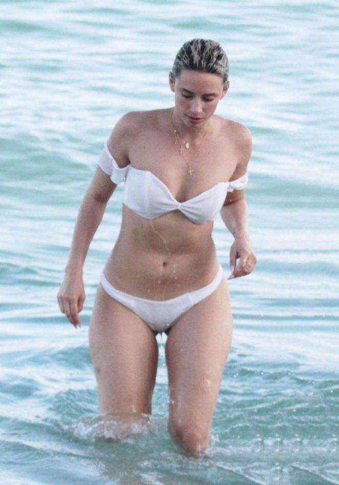 YesJulz in White Bikini on the beach in Miami
