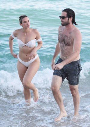 YesJulz in White Bikini on the beach in Miami Pic 15 of 35