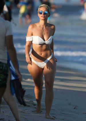 YesJulz in White Bikini on the beach in Miami Pic 2 of 35
