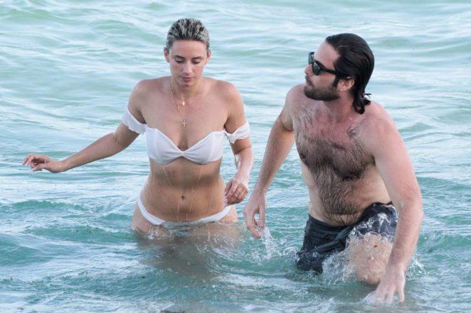 YesJulz in White Bikini on the beach in Miami Pic 8 of 35