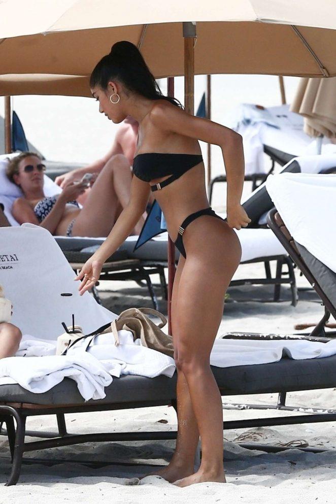 Yovanna Ventura in Black Bikini on the beach in Miami