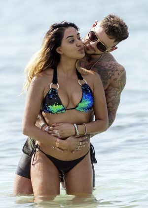 Zahida Allen and Sean Pratt on the beach in Ibiza