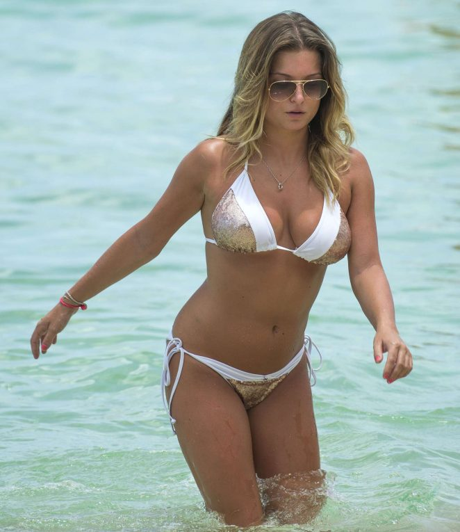 Zara Holland in Bikini at a beach in Barbados