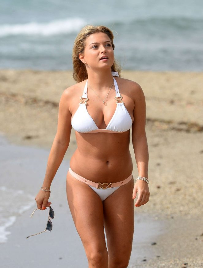 Zara Holland in White Bikini in Marbella