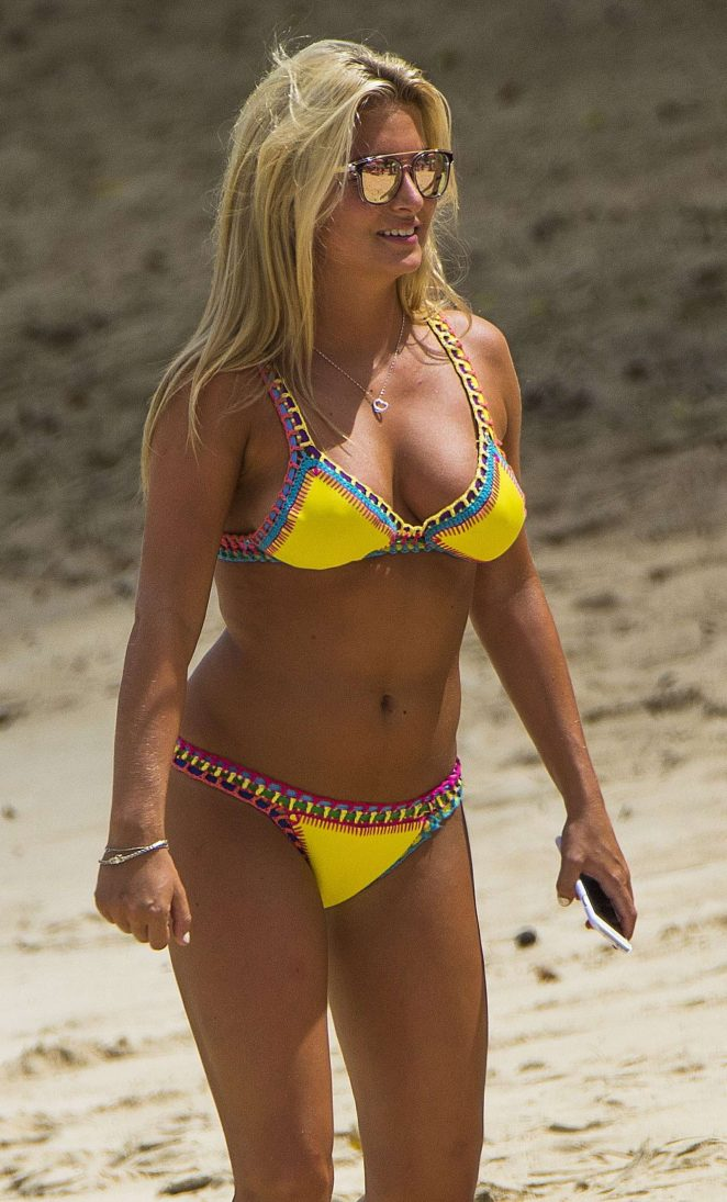 Zara Holland in Yellow Bikini in Barbados