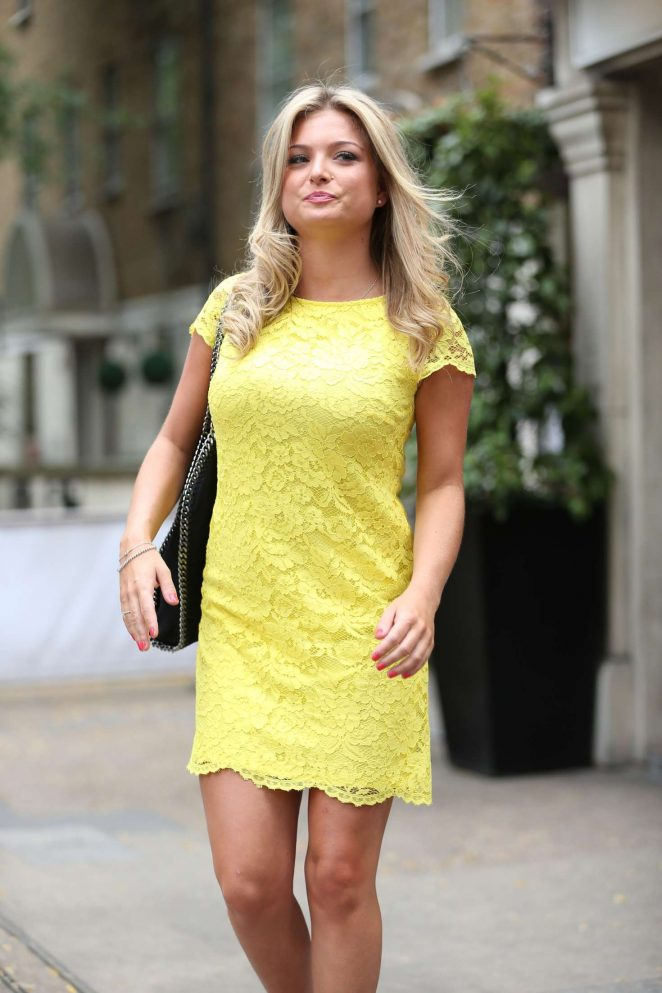 Zara Holland in Yellow Mini Dress Out in London