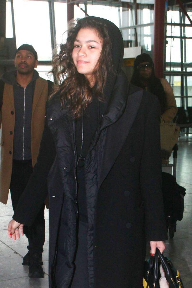Zendaya at Heathrow Airport in London