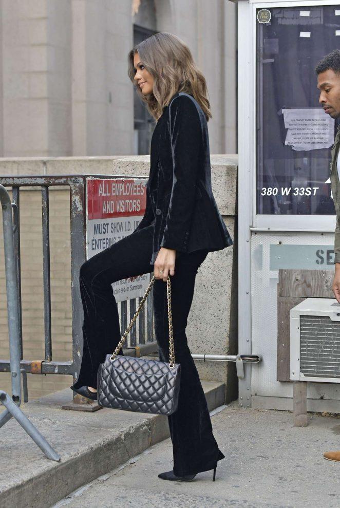 Zendaya in a velvet pant suit -01