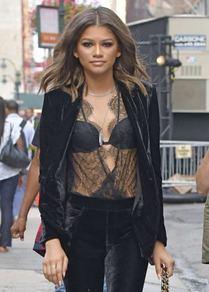 Zendaya in a velvet pant suit in New York City