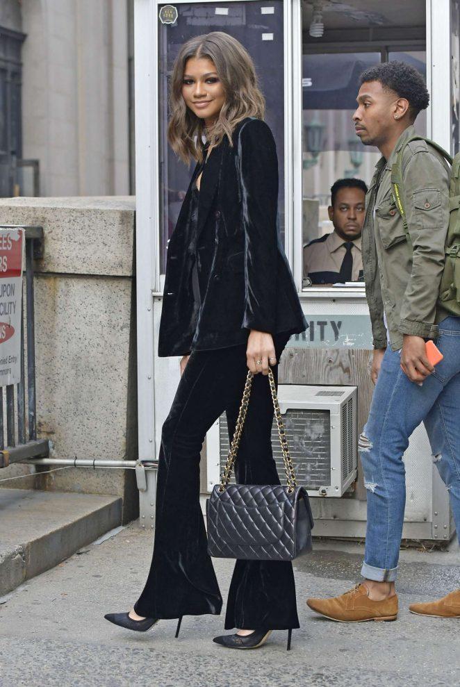 Zendaya in a velvet pant suit -07