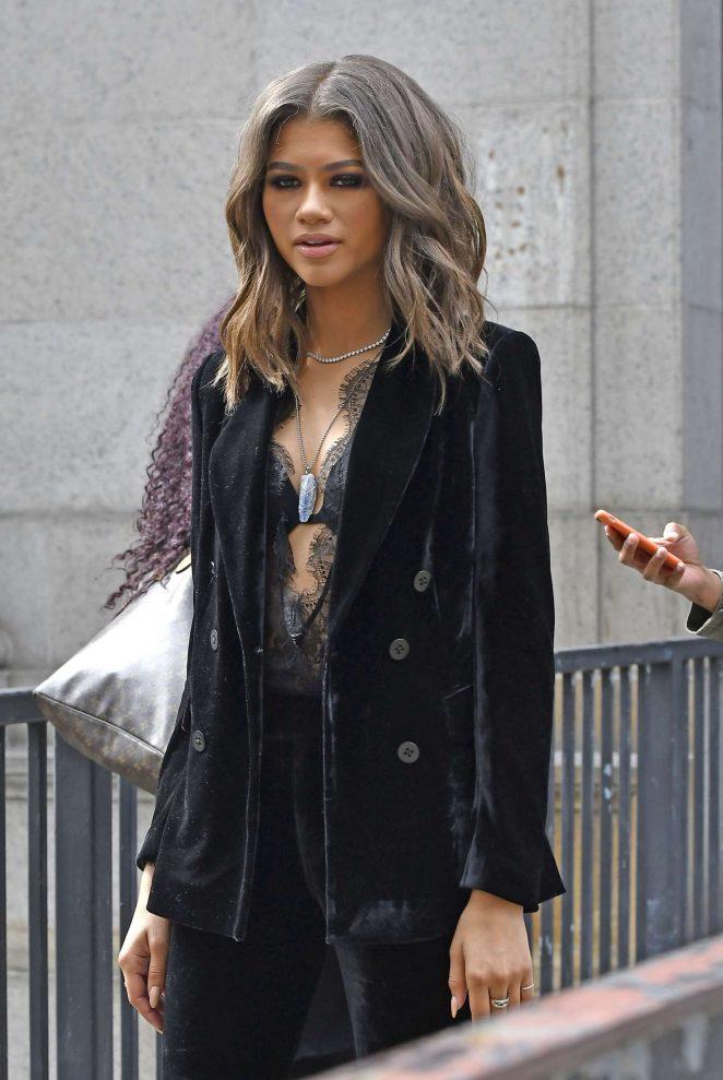 Zendaya in a velvet pant suit -08