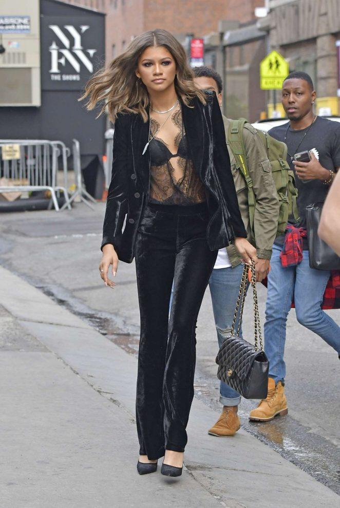 Zendaya in a velvet pant suit -12