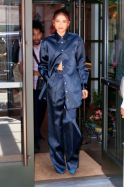 Zendaya in Blue Suit - Out in New York City