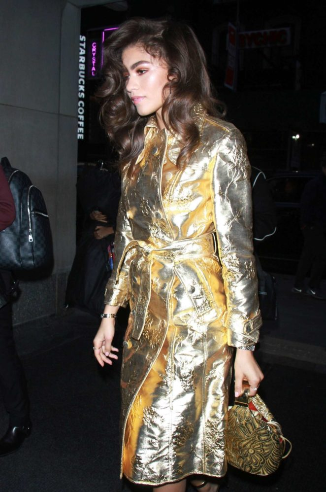 Zendaya in gold coat arrives at NBC's 'Today' show in NYC