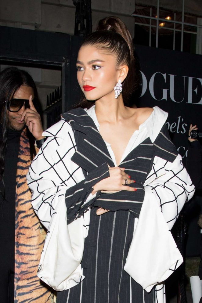 Zendaya - Leaving British Vogue Fashion and Film Party 2018 in London