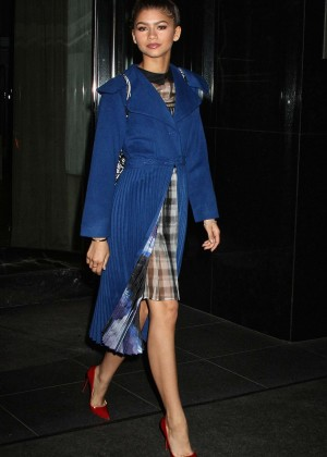 Zendaya in Blue Coat Leaving her hotel in NYC