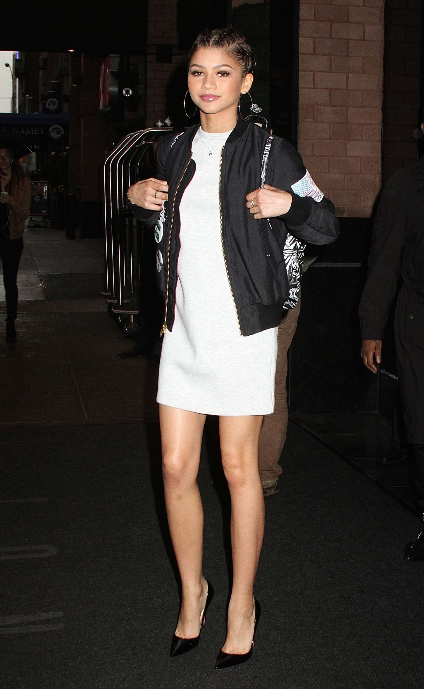 Zendaya In White Mini Dress Leaving Her Hotel In Nyc