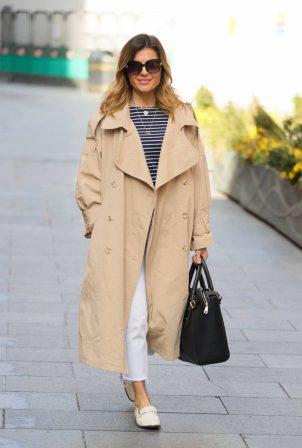 Zoe Hardman - In a trench coat at Heart radio in London