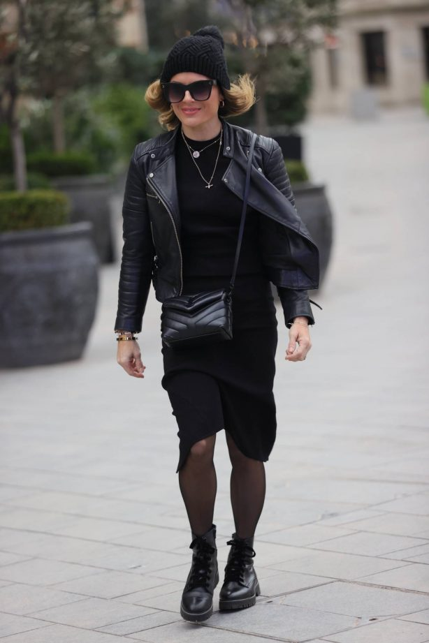 Zoe Hardman - In Bernie and pencil skirt at Heart Radio Studios in London