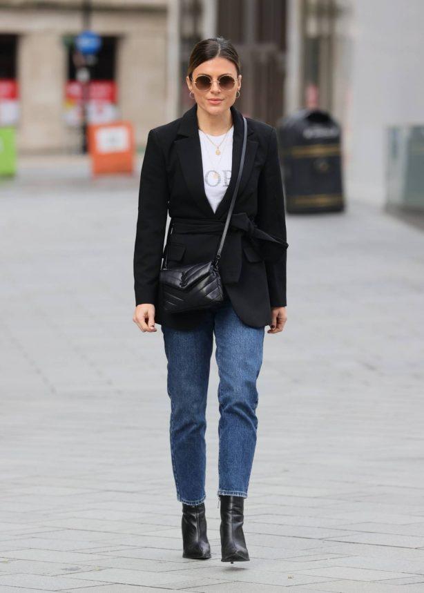 Zoe Hardman - In black blazer and denim out in London