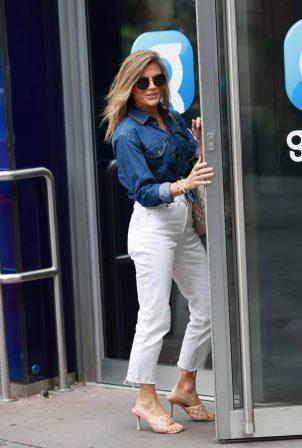 Zoe Hardman - in denim jacket and jeans at Heart radio in London
