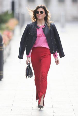Zoe Hardman - In red skinny pants and biker jacket at Heart radio in London