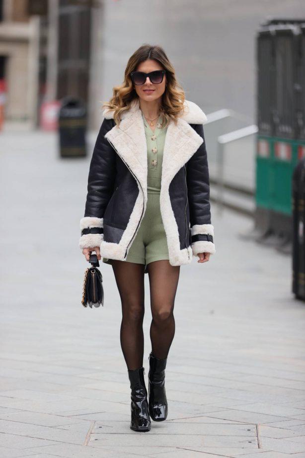 Zoe Hardman - Seen wearing olive green playsuit in London