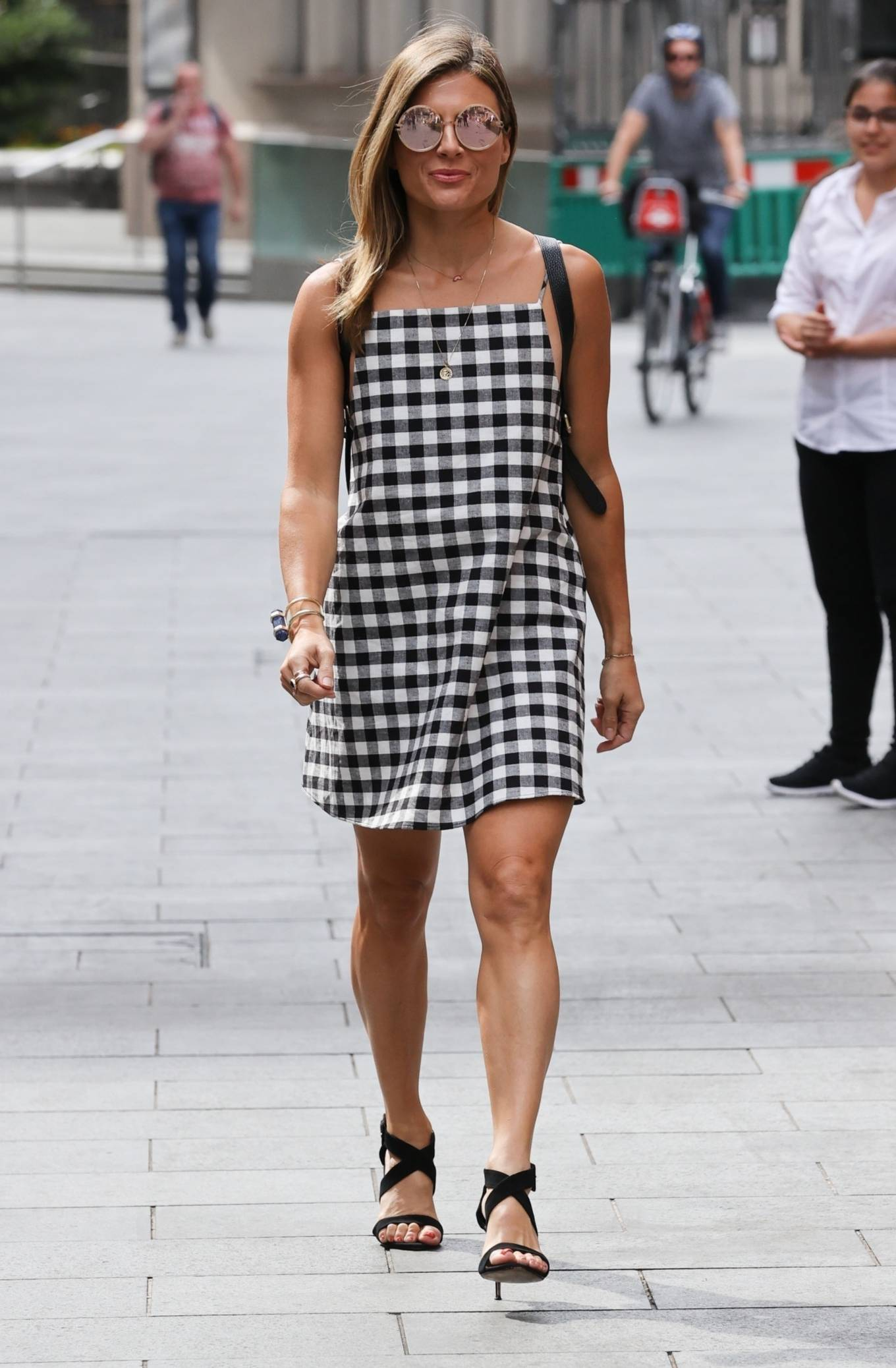Zoe Hardman - Wears checkered dress while out in London