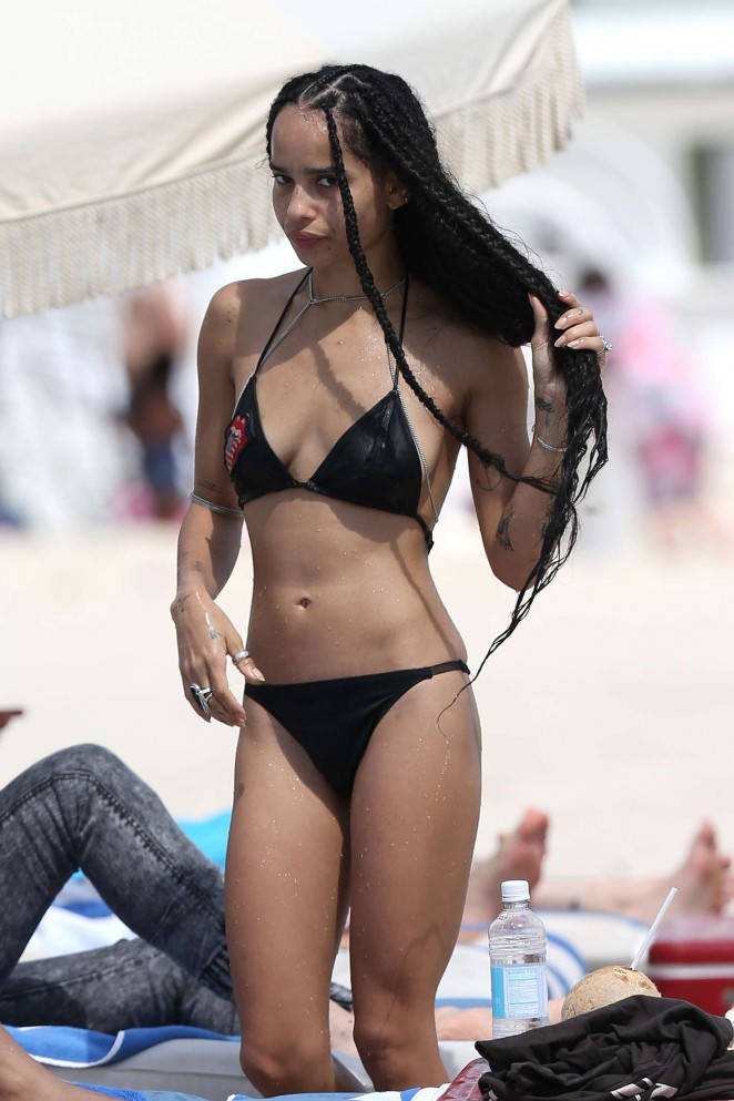 Zoe Kravitz in Black Bikini in Miami